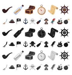 Pirate sea robber cartoon icons in set collection vector