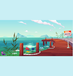 plastic garbage ecology water pollution problem vector image