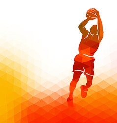Polygonal background with basketball player vector