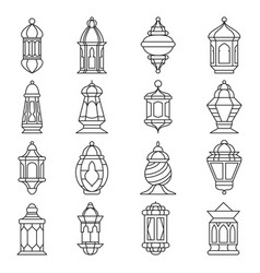 ramadan lantern set vector image