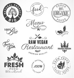 Raw vegan restaurant farm fresh organic labels vector