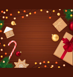 realistic christmas accessories composition vector image