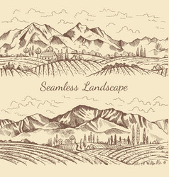 Seamless pictures of nature landscape vineyard or vector