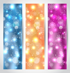 Set Christmas glowing banners with snowflakes - vector