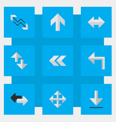 set of simple arrows icons elements back loading vector image vector image