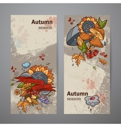 Set vertical banners of colored autumn doodle vector image
