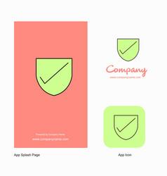 Sheild company logo app icon and splash page vector