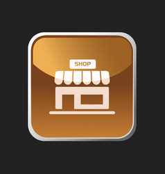 shop icon on an orange square button vector image