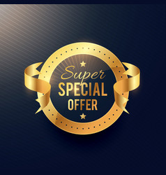 Special offer golden label with ribbon vector