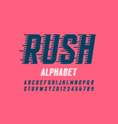 Speed style font alphabet and numbers vector