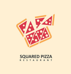 squared pizza logo made for italian restaurants vector image