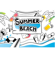 summer doodle symbol and objects icon design vector image