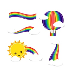 Sun rain bow cloud 001 vector