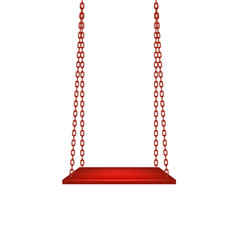 Swing hanging on red chains vector