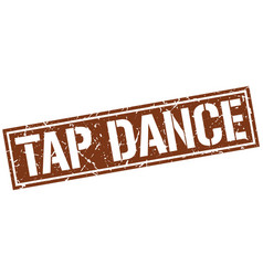 Tap dance square grunge stamp vector