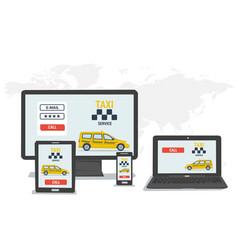 Taxi call on gadget screens vector