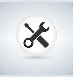 tools icon in circle button with shadow vector image