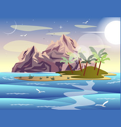 Tropical island in sea vector