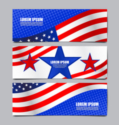 Usa flag banner layout template design vector