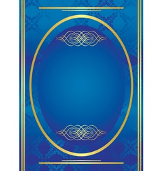 Vertical blue golden frame with oval vector