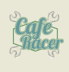 vintage style cafe racer hand drawingshirt vector image