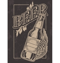 Vintage template for cold beer advertising vector