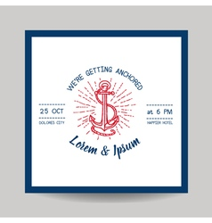 Wedding Invitation Card - Save the Date - Marine vector