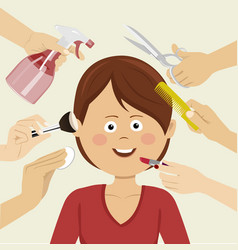 Woman getting beauty services with many hands vector