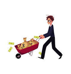 worried businessman in glasses pushes wheelbarrow vector image