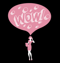 Wow female speech bubble vector