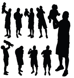 father with baby silhouette vector image vector image