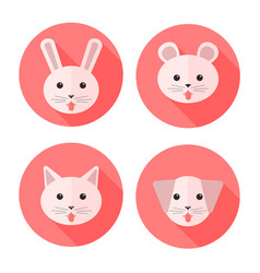 flat animals on circles showing their tongues vector image