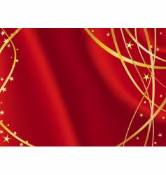 red satin with golden stars vector image
