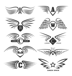 Set of emblems with wings vector image