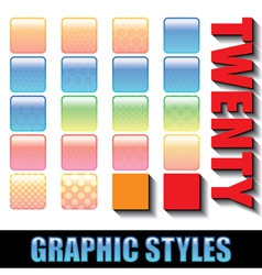 20 graphic styles these styles can be applied to y vector image vector image