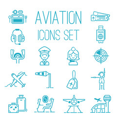 aviation icons set airline graphic vector image vector image