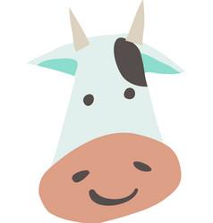 cartoon flat cow face mascot icon vector image