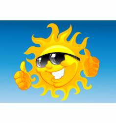 cartoon sun in sunglasses vector image vector image