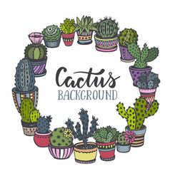 frame with hand drawn cactus in sketch style vector image
