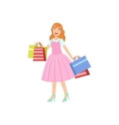 Girl Buying Clothes In Shopping Mall vector image vector image