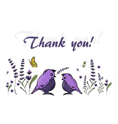 thank you cards with lavender flowers and cute vector image