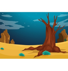 A desert with a big tree vector image