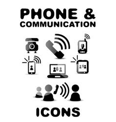 Black glossy phone communication icon set vector image