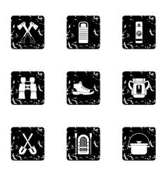 Camp icons set grunge style vector image