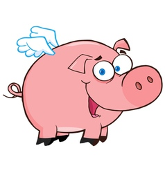 Happy Pig Flying Cartoon Character vector image