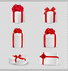white gift box with red bow set isolated on vector image vector image
