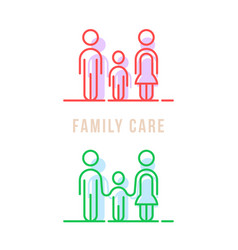 color thin line family care logo vector image vector image