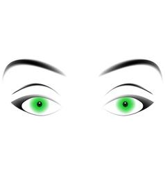 hypnotizing green eyes vector image