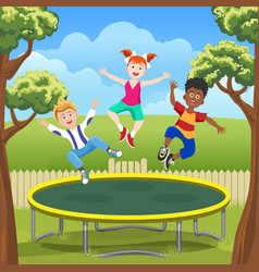 jumping kids on trampoline in backyard vector image vector image
