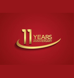 11 years anniversary logo style with swoosh vector